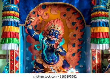 IVOLGINSKY DATSAN, ULAN UDE, SIBERIA, RUSSIA - MARCH 24, 2018: Buddhist Angry Gods Symbols at the buddhist temple in Ivolginsky Datsan, Siberia.
