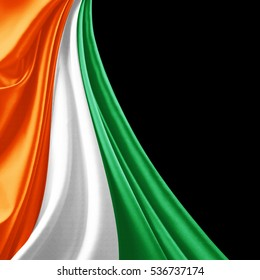 ivory coast  flag of silk with copyspace for your text or images and black background-3D illustration
