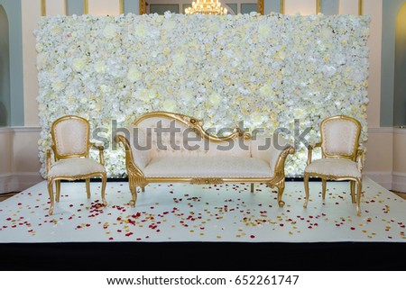 Ivory White Themed Wedding Stage Stock Photo Edit Now 652261747