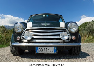 IVREA, ITALY - AUGUST 25, 2015: Front view of a 1998 limited edition Mini Cooper.