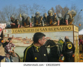 IVREA, ITALY - CIRCA FEBRUARY 2017: Aranceri (meaning orange throwers) at the Carnival of the Oranges