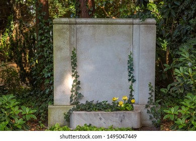 Ivy-covered stone in a cemetery