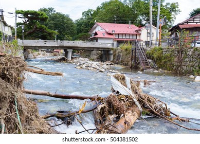 """Iwaizumi town after the disaster of 2016 10th typhoon """"LIONROCK"""" , taken on September 25, 2016"""