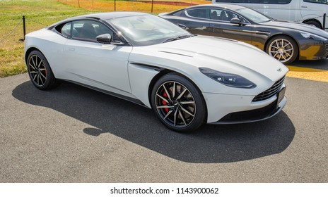 IWAKUNI, JAPAN - MAY 5, 2018: An angle side view of a shiny white Aston Martin DB11 luxury sports car on a U.S. base on Japan-U.S. Friendship Day, a free, non-ticketed event.