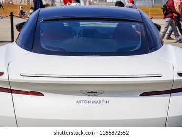 IWAKUNI, JAPAN - MAY 5, 2018: A closeup, rear view photo of a white Aston Martin dbs British luxury convertible sports car at the U.S.-Japan Friendship Day, a free public event.