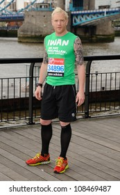 Iwan Thomas at the photocall for celebrities running the London marathon 2012, Tower Bridge, London. 21/04/2012 Picture by: Steve Vas / Featureflash