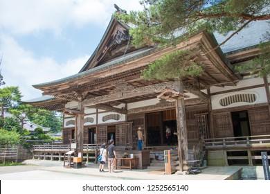 Iwate, Japan - Jul 21 2017- Chusonji Temple in Hiraizumi, Iwate, Japan. Chusonji Temple is part of World Heritage Site - Historic Monuments and Sites of Hiraizumi.