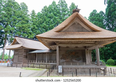 Iwate, Japan - Jul 21 2017- Noh theater at Hakusan-Jinja Shrine in Hiraizumi, Iwate, Japan. It is part of Important Cultural Property of Japan.