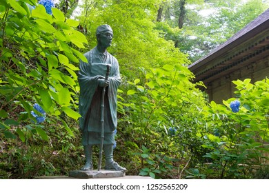 Iwate, Japan - Jul 21 2017- Matsuo Basho Monument at Chusonji Temple in Hiraizumi, Iwate, Japan. Matsuo Basho (1644-1694) was the most famous poet of the Edo period in Japan.