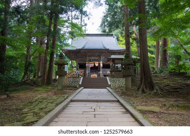 Iwate, Japan - Jul 21 2017- Benkeido Hall at Chusonji Temple in Hiraizumi, Iwate, Japan. Chusonji Temple is part of UNESCO World Heritage Site - Historic Monuments and Sites of Hiraizumi.