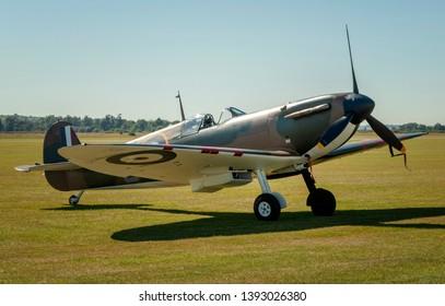 IWM Duxford, Cambridgeshire/United Kingdom - 09/09/2102: A rare Supermarine Spitfire Mk1 at IWM Duxford