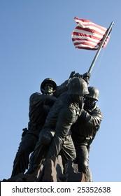 Iwo Jima Memorial  dedicated to the U.S. Marines corps in Arlington National cemetery, VA - closeup view