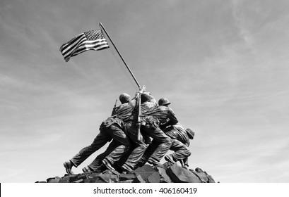 Iwo Jima memorial in Washington DC 2016. Black and white