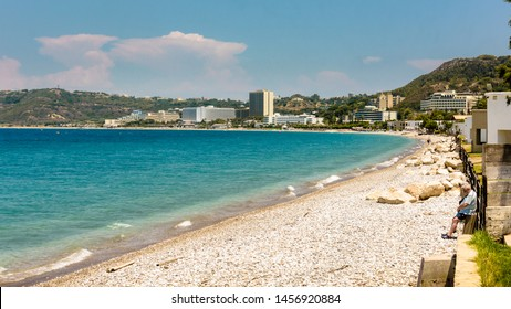 Ixia , Rhodes, Greece - May 30, 2018. Ixia Bay just before holiday season, a view on a coastline towards Rhodes town