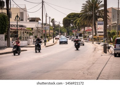 Ixia , Rhodes, Greece - May 30, 2018. A view on a street in sunny day in Ixia near Ialyssos on Rhodes Island,