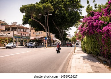 Ixia , Rhodes, Greece - May 30, 2018. A view on a street in sunny day in Ixia near Ialyssos on Rhodes Island