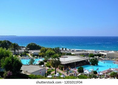 Ixia, Rhodes, Greece - September 2014: Smartline Cosmopolitan Hotel. Zeus hotels. View from the balcony at the outdoor swimming pool and Mediterranean Sea