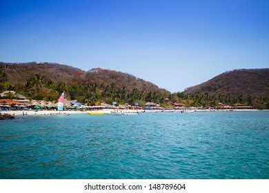 IXTAPA, ZIHUATANEJO/MEXICO -  JUN, 13: View of PLaya Las Gatas from a boat, this beach is accessible only by boat. Ixtapa, Zihuatanejo, Mexico on Jun, 13, 2013.
