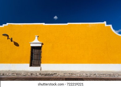 Izamal, Mexico. Yellow building wall