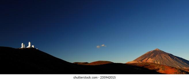 Izana astronomical observatory and Teide Volcano, Tenerife, Canary Islands, Spain