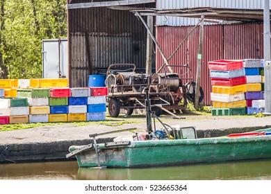 IZBICA, POLAND - CIRCA MAY 2016: Fishing harbor in the village of Izbica circa May 2016 in Izbica.