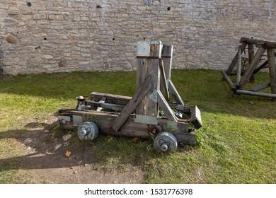 Izborsk, Pskov region / Russia - 10.08.2019: Medieval fortress of Izborsk. Wooden catapult
