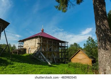 IZBORSK, PSKOV, RUSSIA - AUGUST 19, 2016: The refectory of the former monastery Malskyy, XV
