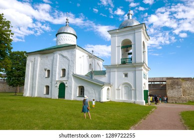 IZBORSK, RUSSIA - JUNE 06, 2018: Sunny June day at St. Nicholas Cathedral. Izborsk fortress