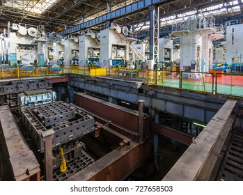 IZHEVSK, RUSSIA - AUGUST 15, 2017: Sheet Metal Stamping production. Metalworking machines. Machine-building enterprise. Stamping production workshop of new LADA Vesta SW Cross car in Automobile Plant