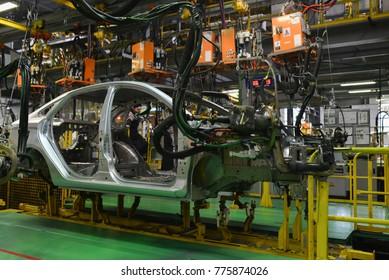 Izhevsk, Russia - December 16 2017: Assembly line production of new LADA Vesta car at Automobile Factory AVTOVAZ on December 16, 2017 in Izhevsk.