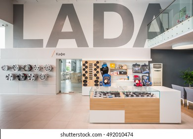 IZHEVSK, RUSSIA - JUNE 06, 2016: Inside the new office of official dealer LADA in Udmurtiya after new brand design. LADA - Alliance RENAULT-NISSAN-AVTOVAZ the biggest RUSSIAN automotive manufacturer