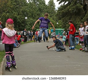 Izhevsk, Russia - June 12, 2015: Masterclass in roller skating at the celebration of the City Day