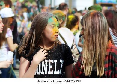 IZHEVSK, RUSSIA MAY 20, 2017. Festival of colors. People.