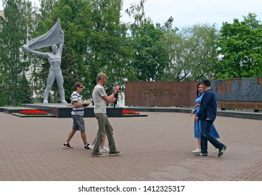 Izhevsk, Russia - May 31, 2019: Film crew in the Victory Square shoots a film about the guns designer Mikhail Kalashnikov. On the centenary of birth.