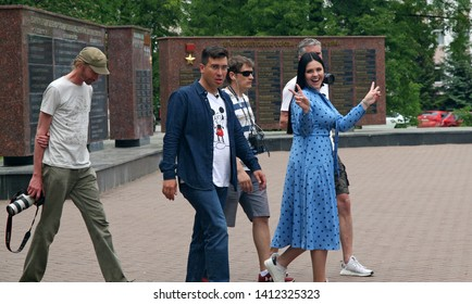 Izhevsk, Russia - May 31, 2019: The filming crew makes a film about guns designer Mikhail Kalashnikov. On the centenary of birth.