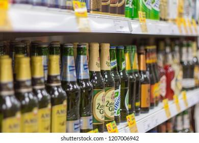 Izhevsk, Russia, October 11, 2018-showcase of alcoholic beverages in the supermarket