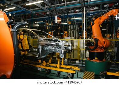 Izhevsk, Russia - SEPTEMBER 25: Car Assembly Line. Start Of Product of LADA Vesta at the Automobile Factory IZHAVTO - AVTOVAZ, on September 26, 2015 in Izhevsk