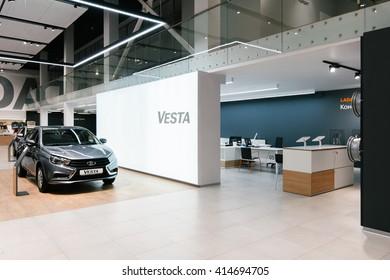 IZHEVSK-RUSSIA-08 MARCH - Brand new design of the Lada Showroom interior