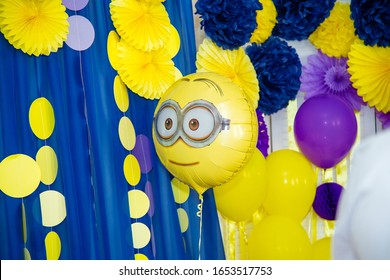 Izmail, Ukraine - 2016. Birthday party with minions design. Cartoon character balloons. Thematic event.