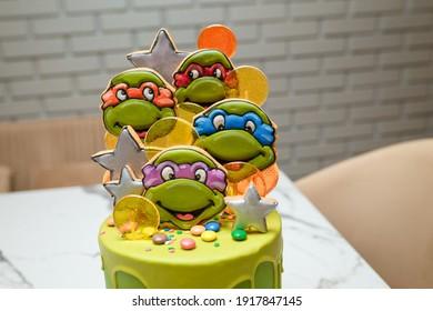 Izmail, Ukraine. November 2020. Birthday cake with Teenage Mutant Ninja Turtles for 5 years old boy theme birthday party