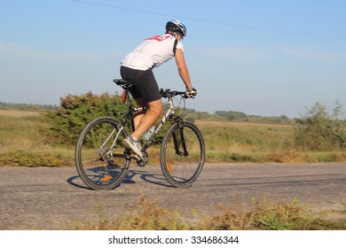 IZMAIL, UKRAINE - SEPTEMBER 20, 2015: Cycling competitions. Cyclists fighting for victory.