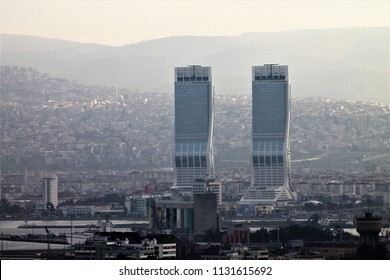 Izmir, Bayrakli / Turkey - March 11 2017: Folkart Towers business centers opposite view. Excellent scenery skyscrapers.