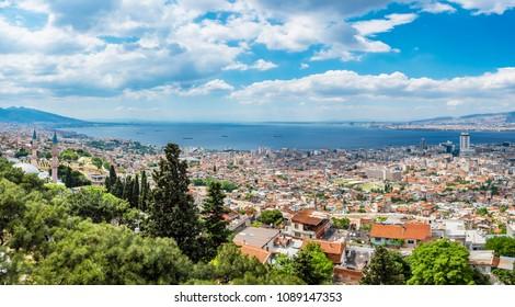 Izmir City panoramic view from kadifekale Castle. Izmir is the third biggest city of Turkey.
