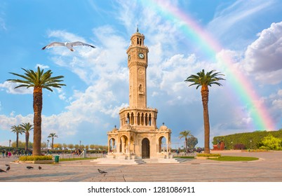Izmir clock tower with rainbow. The famous clock tower became the symbol of Izmir