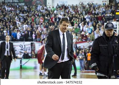 IZMIR - DEC 25: Coach ERGIN ATAMAN walking to locker room end of game in Turkish Basketball League game between Pinar Karsiyaka 78 - 72 Galatasaray Odeabank on December 25, 2016 in Izmir