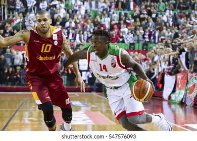 IZMIR - DEC 25: J COVAN BROWN drive to the basket in Turkish Basketball League game between Pinar Karsiyaka 78 - 72 Galatasaray Odeabank on December 25, 2016 in Izmir