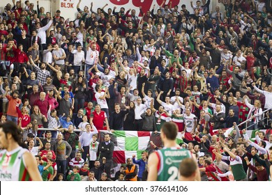 IZMIR - FEBRUARY 10: Pinar Karsiyaka's Fans are supporting in Eurocup game between Pinar Karsiyaka 109 - 66 Grissin Bon Reggio Emilia on February 10, 2016 in Izmir