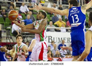 IZMIR - FEBRUARY 13: Pinar Karsiyaka's LAZERIC JONES drives to the basket in Turkish Basketball League game between Pinar Karsiyaka 90-81 Istanbul BBSK on February 13, 2016 in Izmir