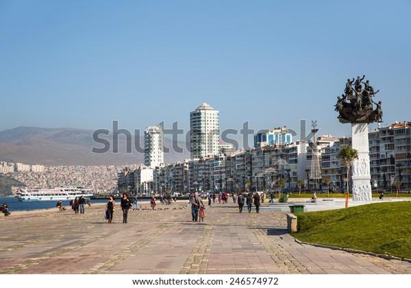 Izmir January 23 View Alsancak Kordon Buildings Landmarks Stock Image 246574972