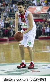 IZMIR -JANUARY 28: Pinar Karsiyaka's Erkan Veyseloglu shoots a free throw in Eurocup game between Pinar Karsiyaka 86-79 Paris Levallois on January 28, 2015 in Izmir
